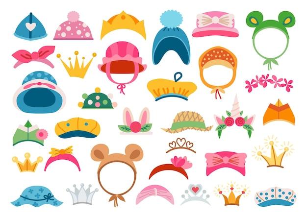 Conjunto de ícones de acessórios para cabeça brilhante