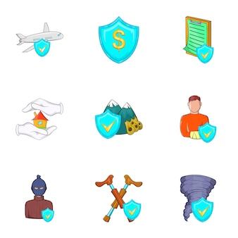 Conjunto de ícones de acidente, estilo cartoon