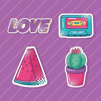 Conjunto de ícones de adesivo de elemento pop art, melancia, cassete, cacto e amor