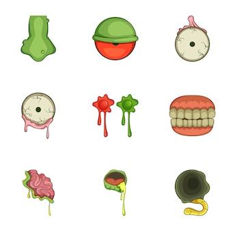 Conjunto de ícones de adesivo de zumbi de halloween, estilo cartoon