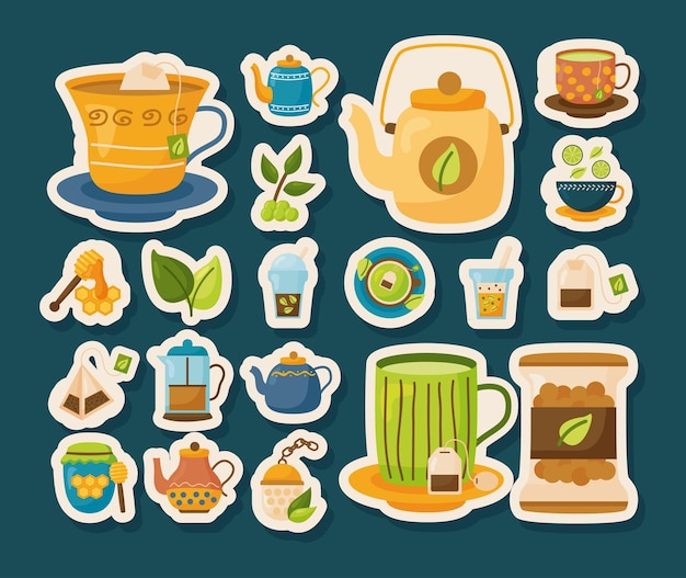 Conjunto de ícones de adesivos de chá, ilustração do tema time drink breakfast e bebida
