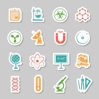 Conjunto de ícones de adesivos de ciência