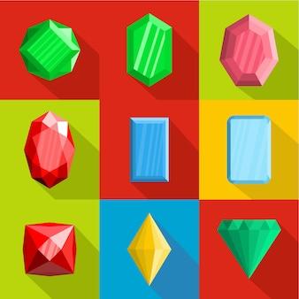 Conjunto de ícones de adorno, estilo simples