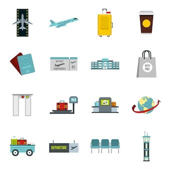 Conjunto de ícones de aeroporto em estilo simples