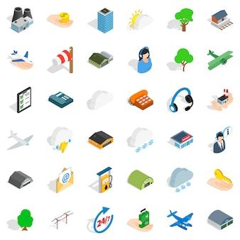 Conjunto de ícones de aeroporto todos os dias, estilo isométrico