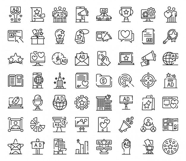 Conjunto de ícones de agência de publicidade, estilo de estrutura de tópicos