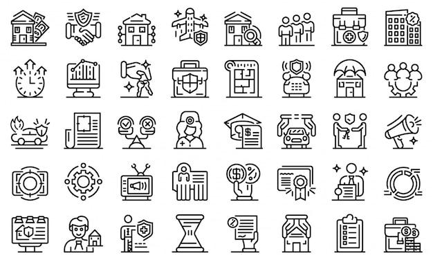 Conjunto de ícones de agente de publicidade, estilo de estrutura de tópicos