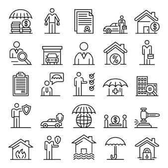 Conjunto de ícones de agente de seguros, estilo de estrutura de tópicos