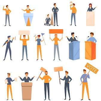 Conjunto de ícones de agitação, estilo cartoon