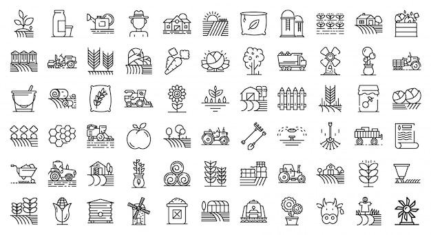 Conjunto de ícones de agricultor, estilo de estrutura de tópicos
