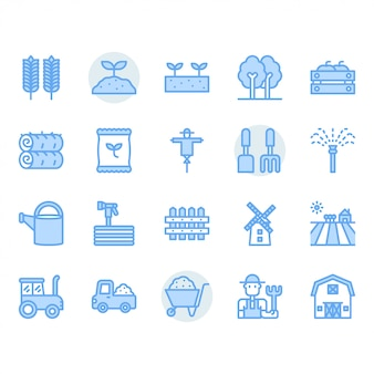 Conjunto de ícones de agricultura e agricultura