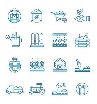 Conjunto de ícones de agricultura e jardinagem com estilo de estrutura de tópicos.