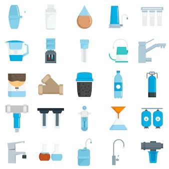 Conjunto de ícones de água de filtro