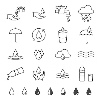 Conjunto de ícones de água e queda no estilo de linha fina
