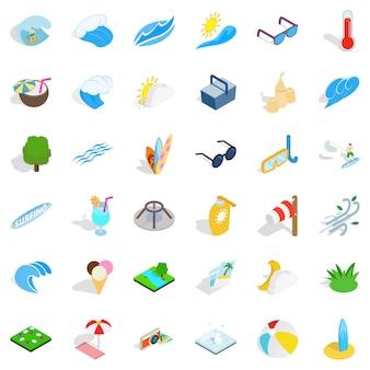 Conjunto de ícones de água limpa, estilo isométrico