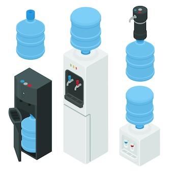 Conjunto de ícones de água mais fria, estilo isométrico