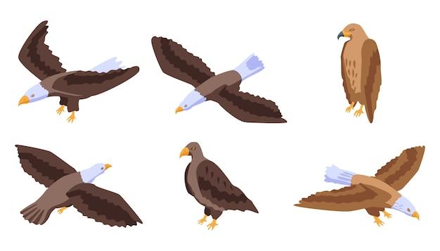 Conjunto de ícones de águia, estilo isométrico
