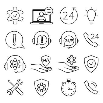 Conjunto de ícones de ajuda e suporte. suporte técnico online. ilustração do conceito de assistência, call center, serviço de ajuda virtual. solução de suporte ou conselho. contorno vetorial