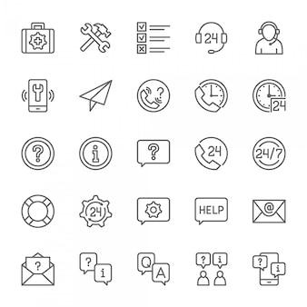 Conjunto de ícones de ajuda e suporte