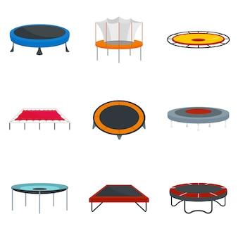 Conjunto de ícones de alegria de parque de salto de trampolim