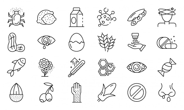 Conjunto de ícones de alergia alimentar, estilo de estrutura de tópicos