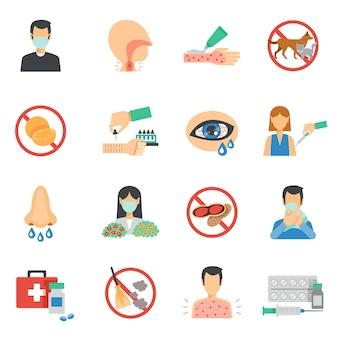 Conjunto de ícones de alergia plana