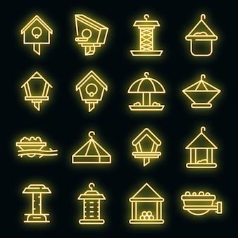 Conjunto de ícones de alimentadores de pássaros. conjunto de contornos de ícones de vetor de alimentadores de pássaros cor de néon no preto