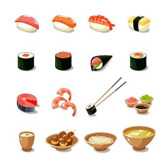 Conjunto de ícones de alimentos da ásia