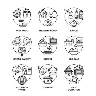 Conjunto de ícones de alimentos e bebidas