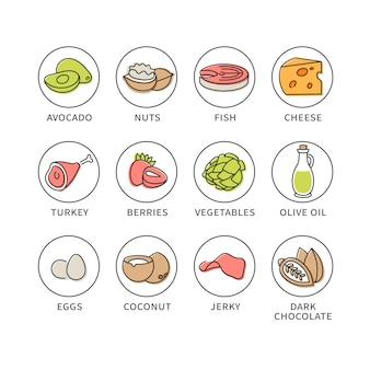 Conjunto de ícones de alimentos naturais e saudáveis em estilo doodle