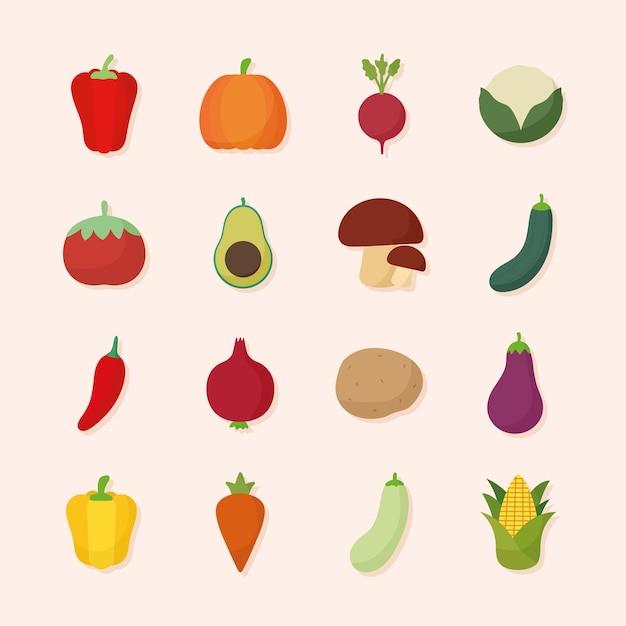 Conjunto de ícones de alimentos vegetais