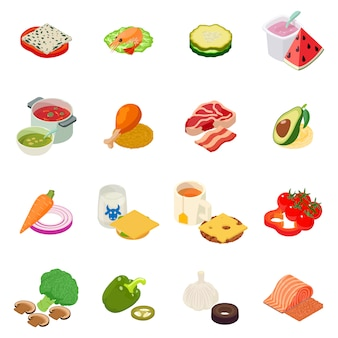 Conjunto de ícones de almoço