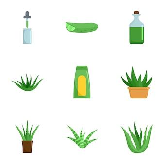 Conjunto de ícones de aloe. conjunto plano de 9 ícones de vetor de aloe