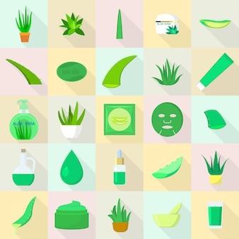 Conjunto de ícones de aloe, estilo simples