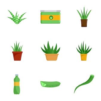 Conjunto de ícones de aloe vera. conjunto plano de 9 ícones de aloe vera