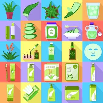 Conjunto de ícones de aloe vera. conjunto plano de vetor de aloe vera