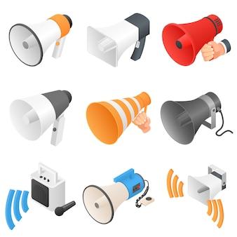 Conjunto de ícones de alto-falante de megafone