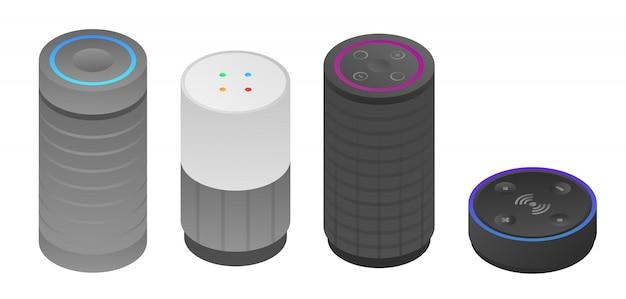 Conjunto de ícones de alto-falante inteligente, estilo isométrico