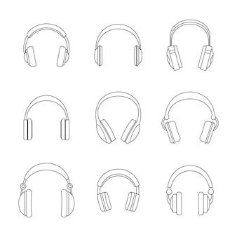 Conjunto de ícones de alto-falantes de música de fones de ouvido