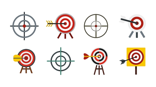 Conjunto de ícones de alvo. conjunto plano de coleção de ícones vetoriais alvo isolado