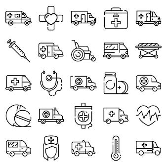 Conjunto de ícones de ambulância, estilo de estrutura de tópicos