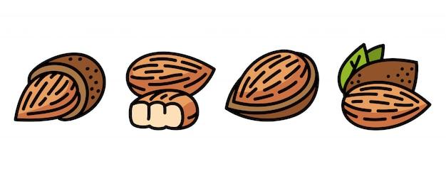 Conjunto de ícones de amêndoa