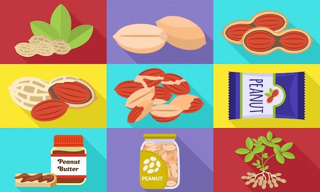 Conjunto de ícones de amendoim. conjunto plano de vetor de amendoim