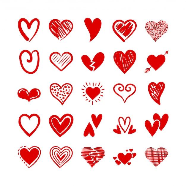 Conjunto de ícones de amor de corações
