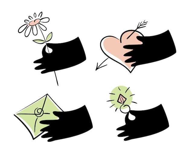 Conjunto de ícones de amor para decoração de cartões de dia dos namorados