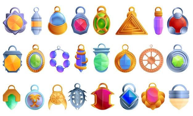Conjunto de ícones de amuleto, estilo cartoon