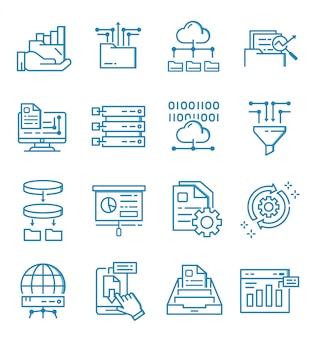 Conjunto de ícones de análise de dados com estilo de estrutura de tópicos