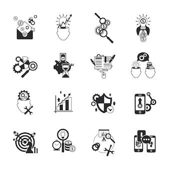 Conjunto de ícones de análise de negócios preto