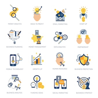 Conjunto de ícones de análise de negócios