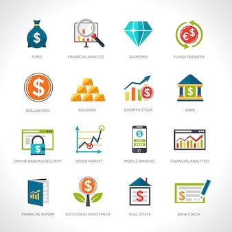 Conjunto de ícones de análise financeira
